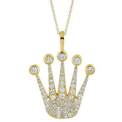 14K Yellow Solid Gold Diamond Crown Pendant 1.90 Ctw