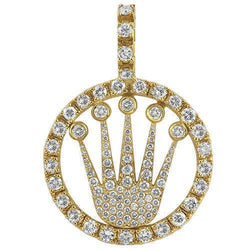 14K Yellow Solid Gold Diamond Crown Pendant 4.50 Ctw