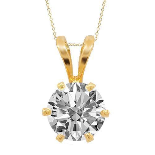 Yellow 14K Yellow Solid Gold Diamond Solitaire Pendant 0.53 Ctw