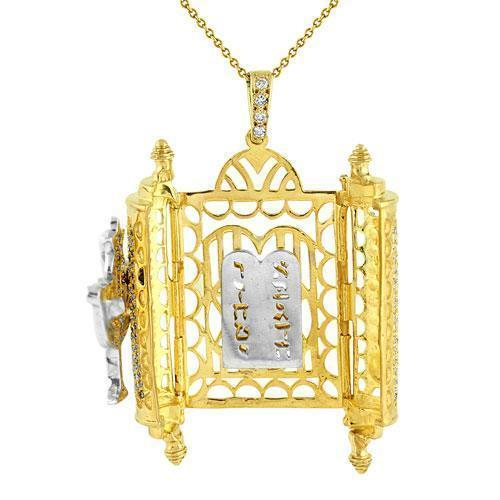 14K Yellow Solid Gold Diamond Torah Ten Commandments Pendant 3.50 Ctw