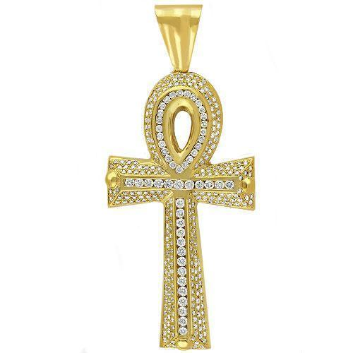 14K Yellow Solid Gold Mens Diamond Ankh Pendant 4.50 Ctw