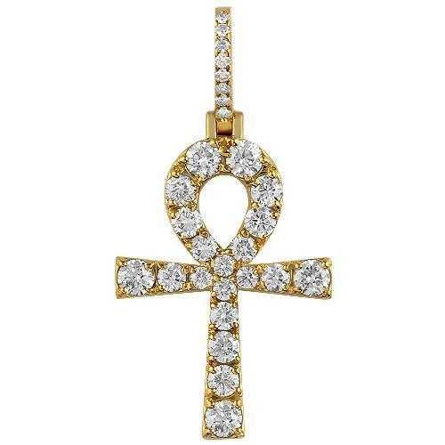 14K Yellow Solid Gold Mens Diamond Ankh Pendant 5.00 Ctw