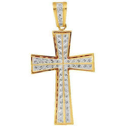 14K Yellow Solid Gold Mens Diamond Cross Pendant 1.50 Ctw