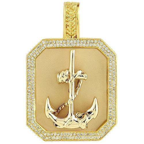 14K Yellow Solid Gold Mens Diamond Custom Made Anchor Dog Tag Pendant 1.50 Ctw