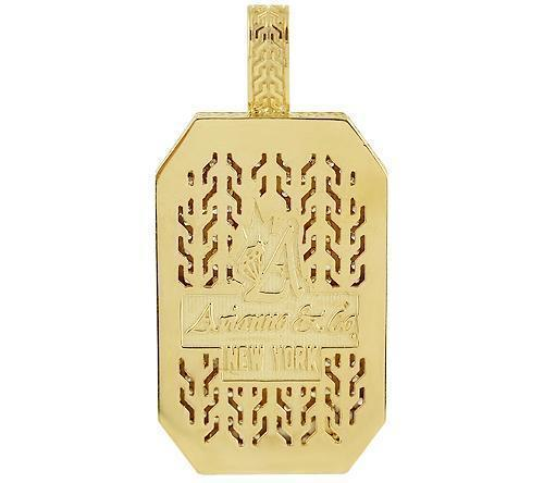 14K Yellow Solid Gold Mens Diamond Custom Made Pave Set Dog Tag Pendant 5.50 Ctw