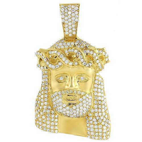14K Yellow Solid Gold Mens Diamond Jesus Pendant 3.25 Ctw