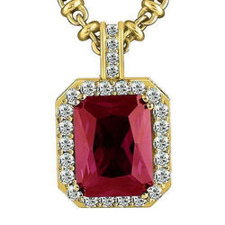 14K Yellow Solid Gold Mens Diamond Red Ruby Pendant 25.09 Ctw