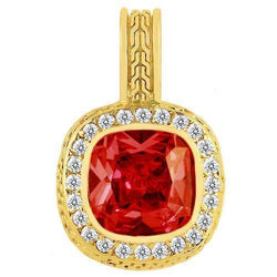 14K Yellow Solid Gold Mens Diamond Ruby Pendant 1.75 Ctw