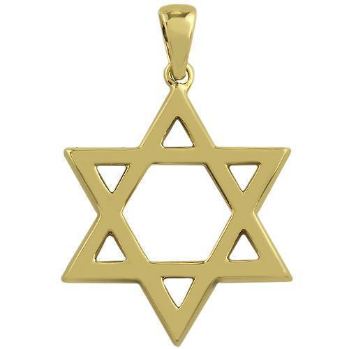 Yellow 14K Yellow Solid Gold Mens Diamond Star of David Pendant 0.46 Ctw