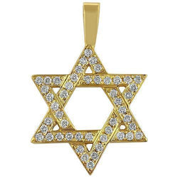 Yellow 14K Yellow Solid Gold Mens Diamond Star of David Pendant 1.50 Ctw