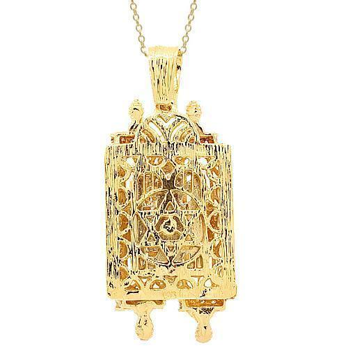 Yellow 14K Yellow Solid Gold Mens Diamond Torah Pendant 0.50 Ctw