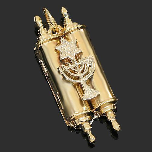 Yellow 14K Yellow Solid Gold Torah Pendant