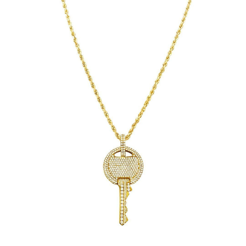 14K Yellow Solid Gold Unisex Diamond Pave Set Custom Made Key Pendant 5.00 Ctw