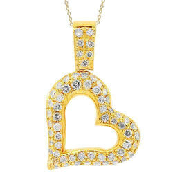 Yellow 14K Yellow Solid Gold Womens Diamond Heart Pendant 1.01 Ctw