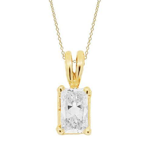 Yellow 14K Yellow Solid Gold Womens Diamond Radiant Cut Solitaire Pendant 0.25 Ctw