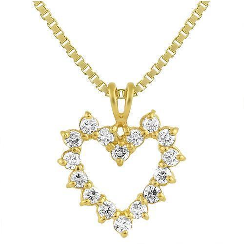Yellow 14K Yellow Solid Gold Womens Heart Pendant With Prong Set Diamonds 0.75 Ctw