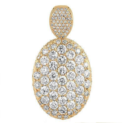 18K Rose Solid Gold Womens Diamond Custom Made Oval Pendant 7.50 Ctw