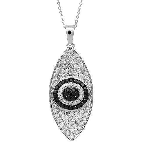 18K Solid White Gold Womens Diamond Evil Eye Pendant with Black Diamonds 1.25 Ctw