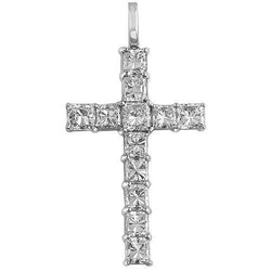 18K White Solid Gold Cross Pendant with Princess Cut Diamonds 4.75 Ctw