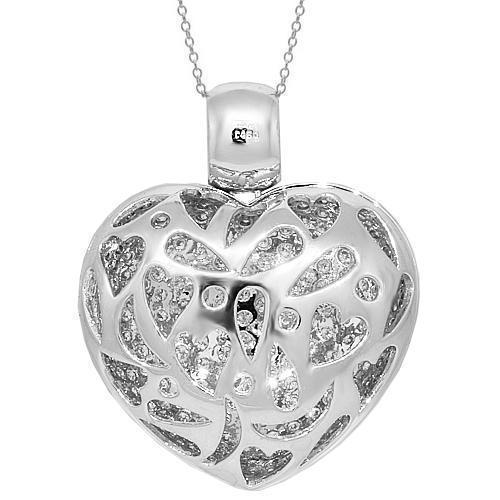 18K White Solid Gold Womens Diamond Heart Locket Pendant 4.60 Ctw