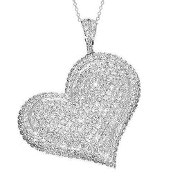 18K White Solid Gold Womens Diamond Heart Pendant 4.50 Ctw