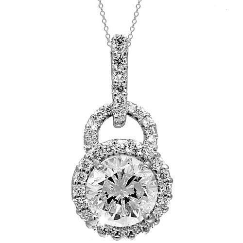 18K White Solid Gold Womens Diamond Pendant 1.36 Ctw