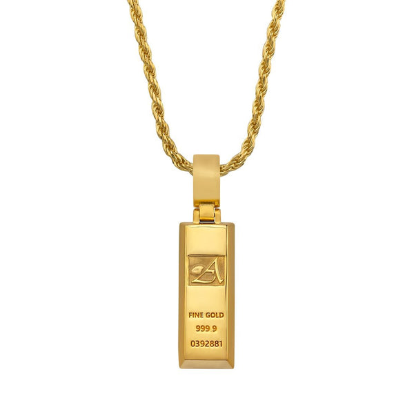 "Yellow 18k Yellow Gold Plated ""Avianne Gold Bar"" Pendant"