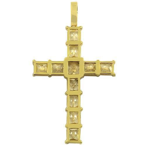 18K Yellow Solid Gold Mens Cross Pendant with Fancy Yellow Diamonds 12.50 Ctw