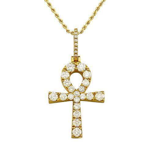 Clarity Enhanced Diamond Ankh Pendant in 14k Yellow Gold 5 Ctw