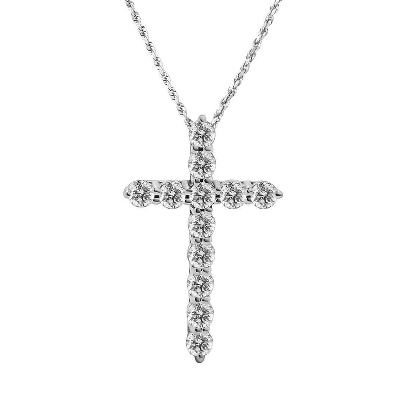 Classic Diamond Cross in 14k White Gold .87 Ctw