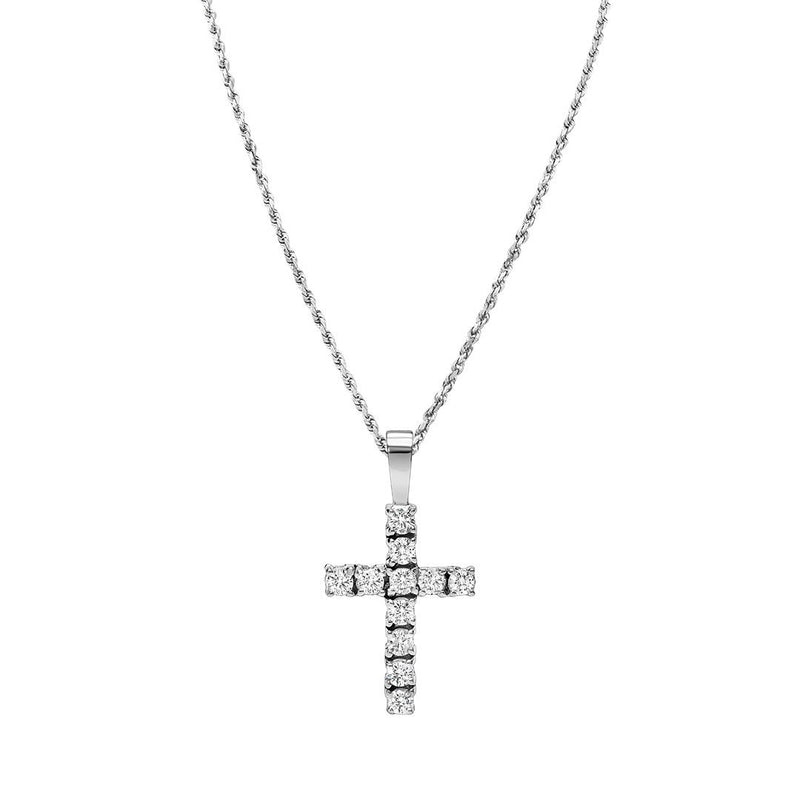 Classic Diamond Cross Pendant in 14k Yellow Gold 0.88 Ctw