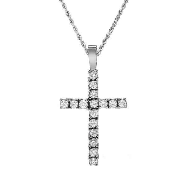 Classic Diamond Cross Pendant in 14k Yellow Gold 1.26 Ctw