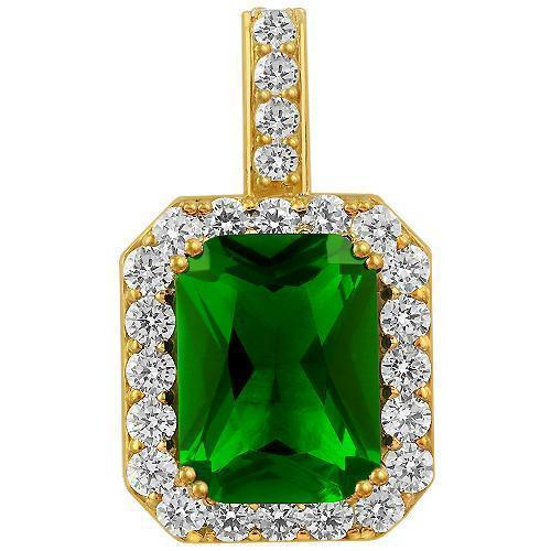 Crystal Royal Emerald Pendant in Gold over Sterling Silver