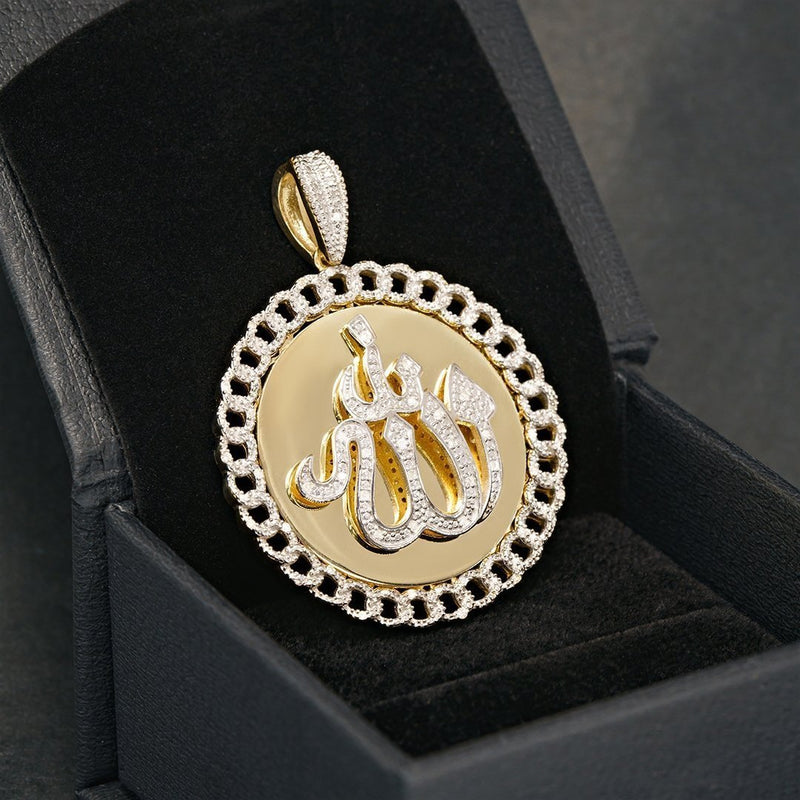Yellow Diamond Allah Pendant in 10k Yellow Gold 0.25 Ctw