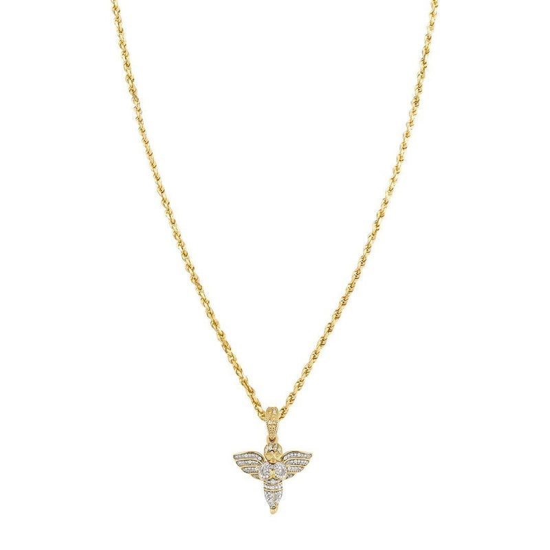 Yellow Diamond Angel Pendant in 10k Yellow Gold 0.15 Ctw
