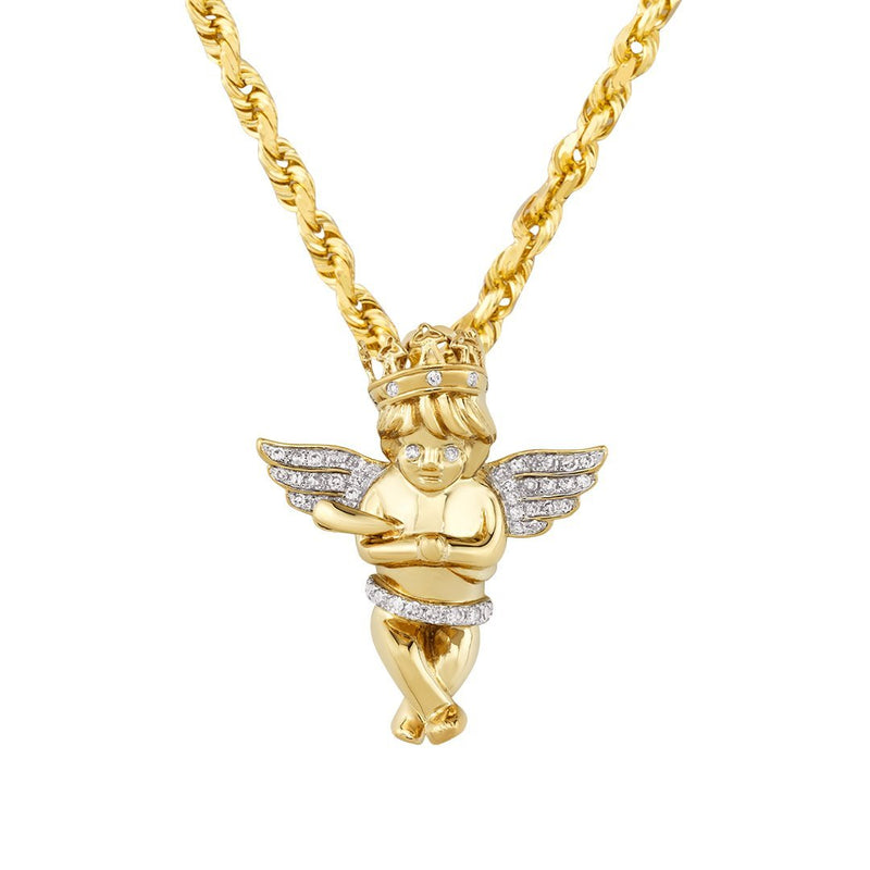 Yellow Diamond Angel Pendant in 10k Yellow Gold 0.29 Ctw