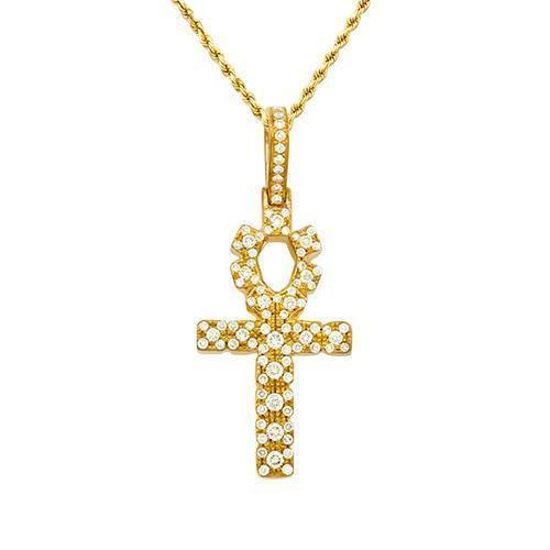 Diamond Ankh Pendant 14k Yellow Gold 1.5 Ctw