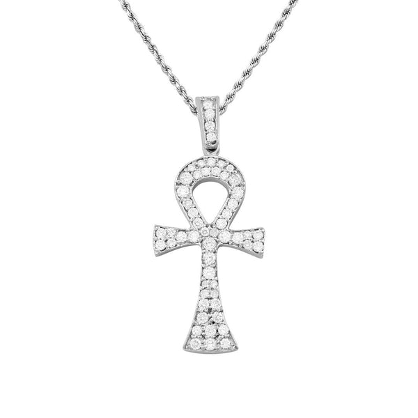 Diamond Ankh Pendant in 14k White Gold 1 Ctw