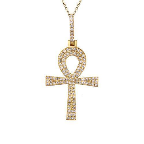 Diamond Ankh Pendant in 14k Yellow Gold 1.5 Ctw