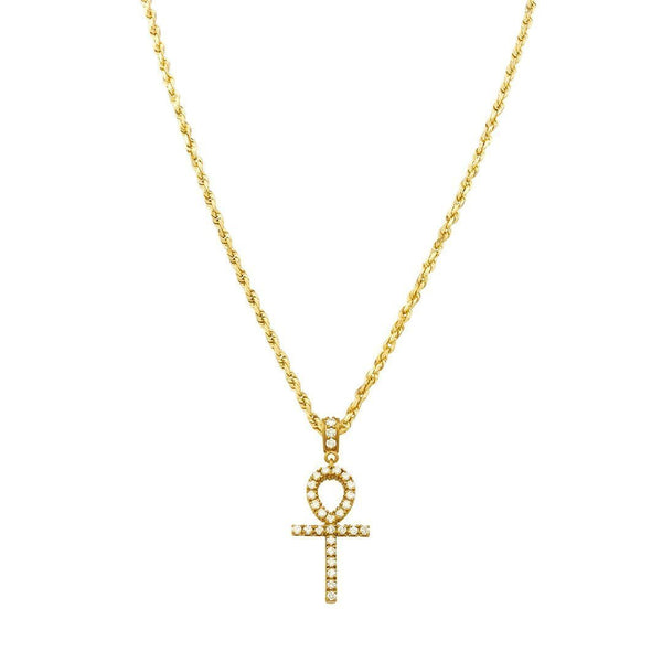 Yellow Diamond Ankh Pendant in 14k Yellow Gold 1.71 Ctw