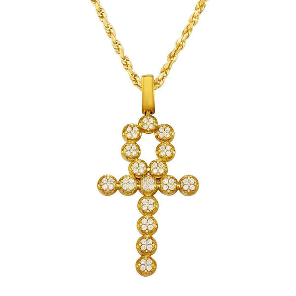 Diamond Ankh Pendant in 14k Yellow Gold 3.25 Ctw