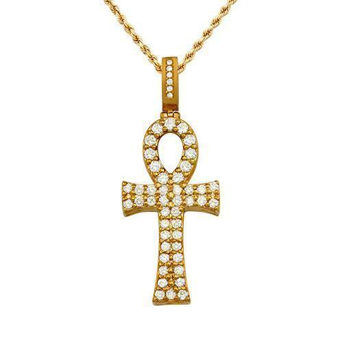 "Diamond ""Avianne Ankh"" Pendant in 14k Yellow Gold 2 Ctw"