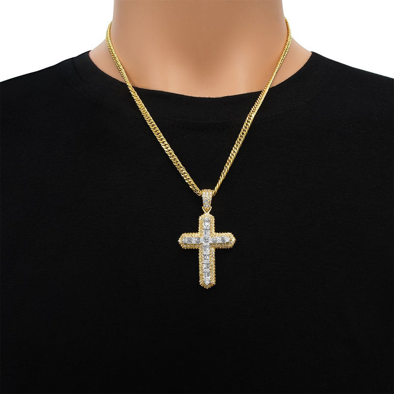 Rose Diamond Baguette Cross in 14k White Gold 2.59 Ctw