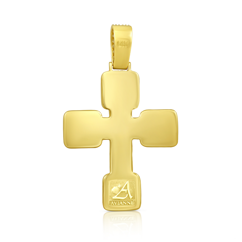 Yellow Diamond Baguette Cross in 14k Yellow Gold 5.65 Ctw