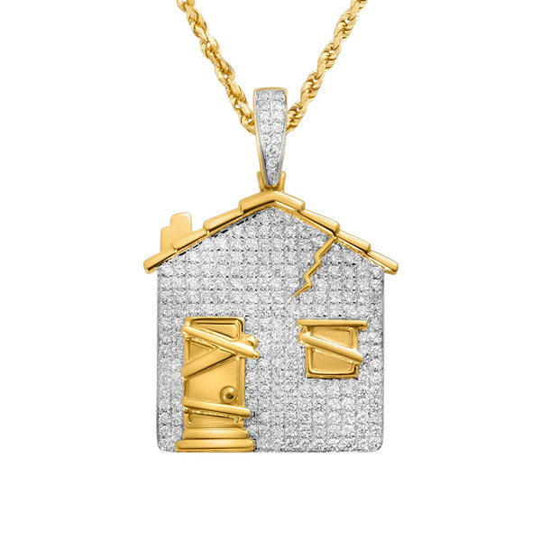 Yellow Diamond Bando House Pendant in 14k Yellow Gold 1.86 Ctw