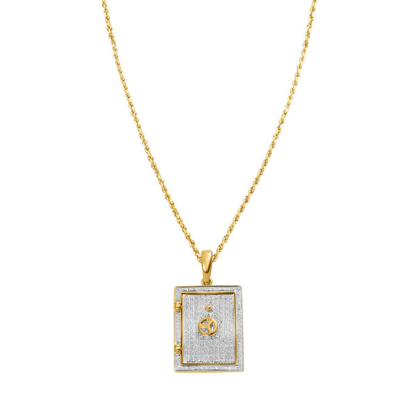 Yellow Diamond Bank Case Pendant in 14k Yellow Gold 0.32 Ctw