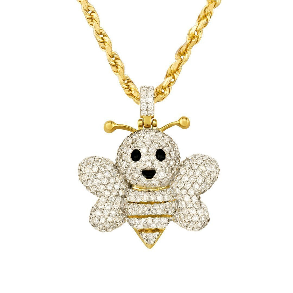 05bdfb91acda1 Diamond Bee Pendant in 10k Yellow Gold 1.23 Ctw