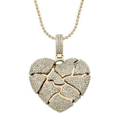 Diamond Broken Heart Pendant in 10k Rose Gold 2.65 Ctw