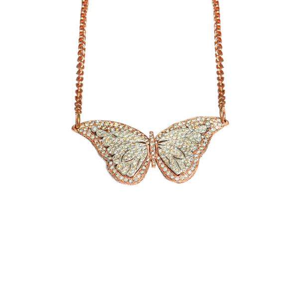 Rose Diamond Coileray Butterfly Pendant in 14k Gold