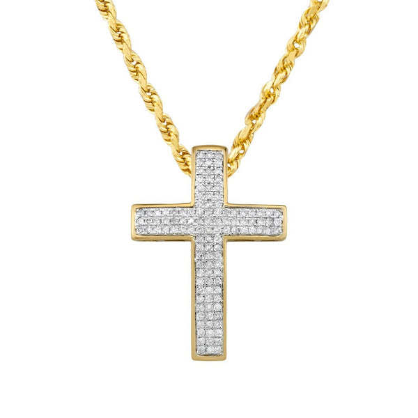 Diamond Cross Pendant in 10k Yellow Gold 0.37 Ctw